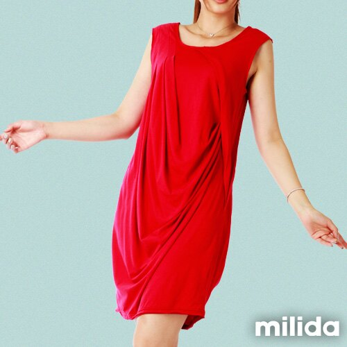 【Milida,全店七折免運】前後U領-立體抓皺剪裁洋裝 1