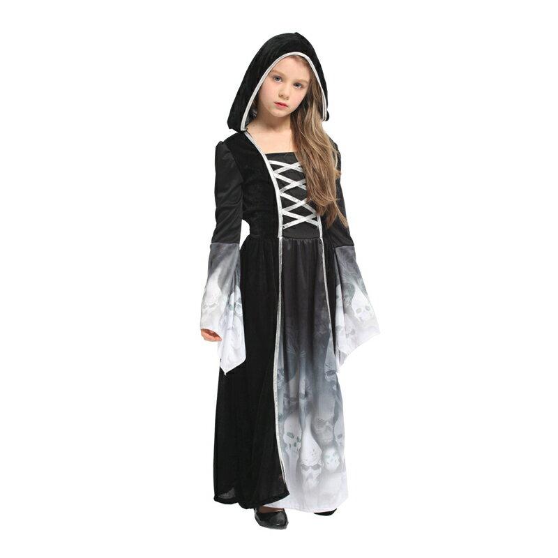 東區派對- 萬聖節服裝/巫婆服裝/巫師服裝/帶帽巫師服裝/3D鬼袍/巫師袍/黑袍/魔幻骷髏公主