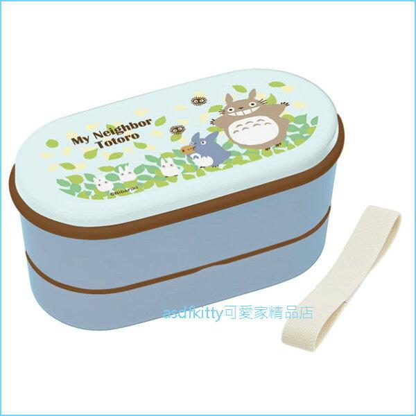 asdfkitty可愛家☆TOTORO龍貓樹葉版雙層便當盒保鮮盒水果盒收納盒-有附彈性綁繩-日本製