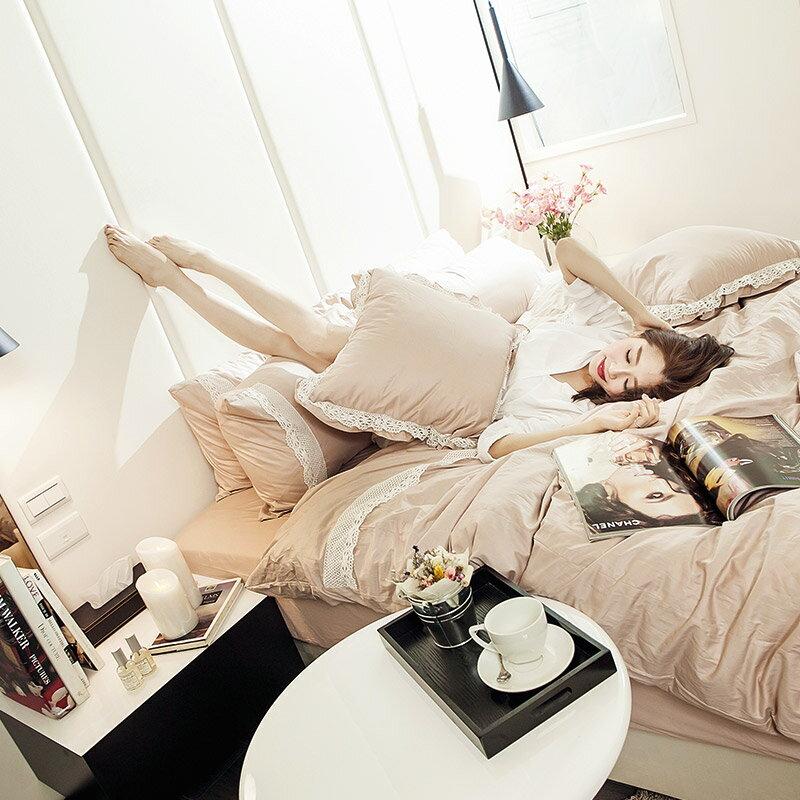 床包被套組  雙人加大~巧克布蕾~粉藕~含兩件枕套,100^%精梳棉,在巴黎遇見系列, 花