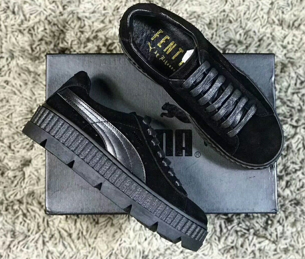 Puma Cleated Creeper Suede By Rihanna 全黑 女款