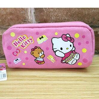 【真愛日本】17050300045 帆布筆袋-KT屁屁 三麗鷗 Hello Kitty 凱蒂貓 收納包 化妝包