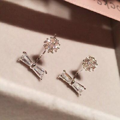 ~925純銀耳環鑲鑽耳飾~ 清新甜美蝴蝶結情人節生日 女飾品2色73du39~ ~~米蘭