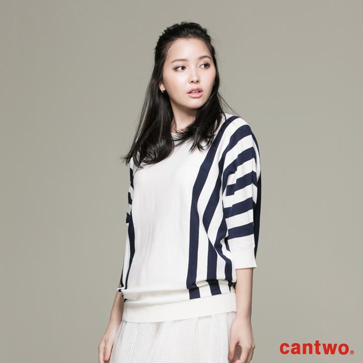 cantwo條紋落肩袖上衣(共二色) 1