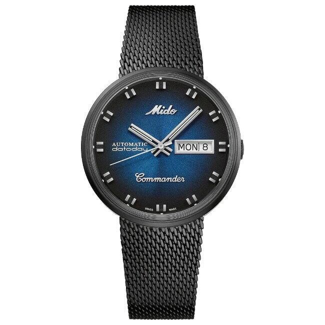 Mido 美度錶 M842932511 Commander Shade 懷舊復古腕錶/藍 37mm
