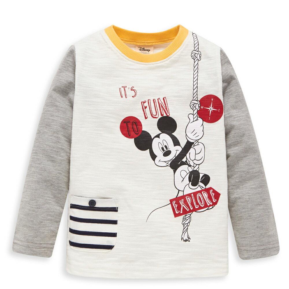 Disney 米奇系列極限運動拚接上衣-白色