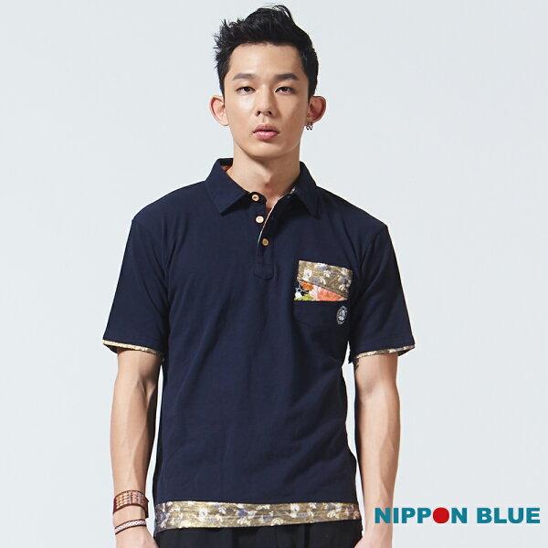 【新品免運↘】浪花雙拼布POLO衫(丈青)-BLUEWAYNIPPONBLUE日本藍