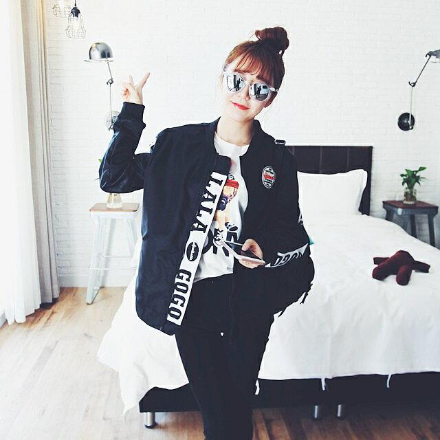 PS Mall 原宿風拼接字母bf寬鬆薄款情侶棒球服外套~T2515~ ~  好康折扣