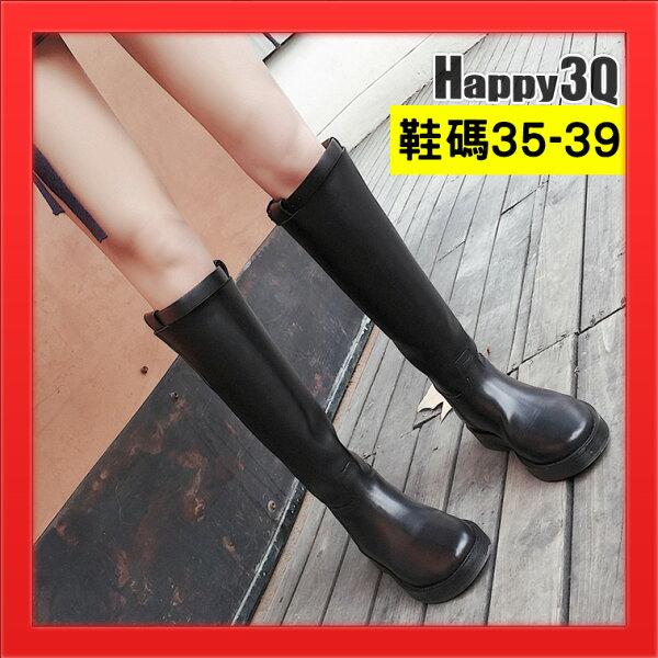 Happy Happy:真皮靴子高筒靴平底靴百搭黑靴粗跟低跟靴子女靴基本款百搭皮面靴-黑35-39【AAA3484】
