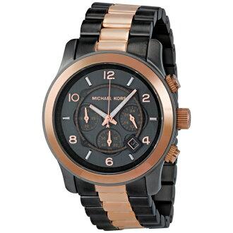 【MICHAEL KORS】正品 (男錶) 黑玫瑰金 三眼 計時 手錶 腕錶 MK8189