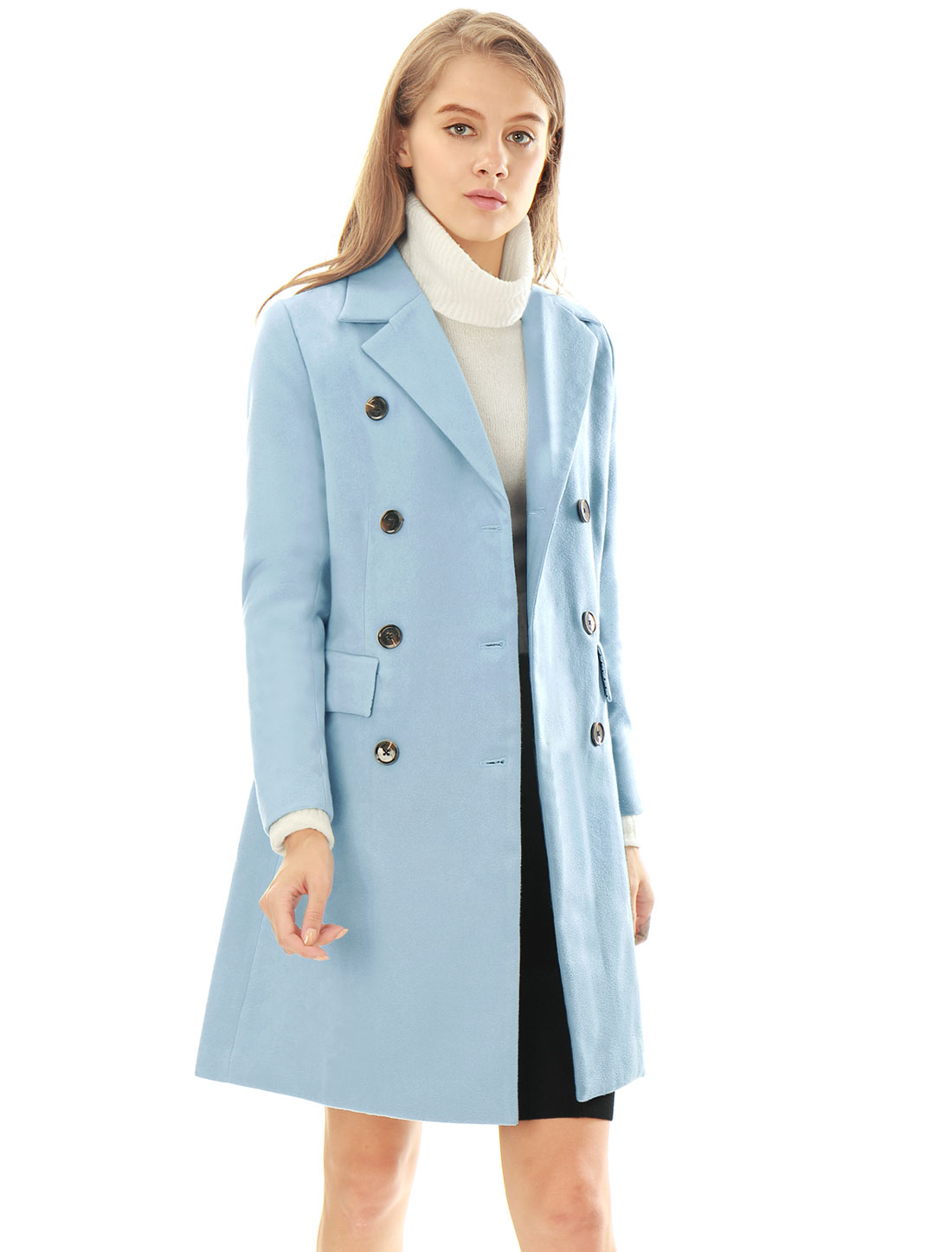 6cf31180788 Unique Bargains Women s Notched Lapel Double Breasted Trench Worsted Coat 0