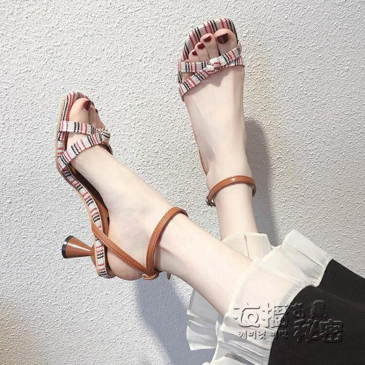 貓跟涼鞋女仙女風夏季新款一字帶高跟鞋細跟仙女裙配的鞋百搭