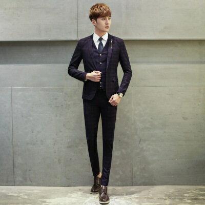 西裝外套西服套裝(三件套)-正韓潮流復古設計面試男裝2色73hc33【獨家進口】【米蘭精品】