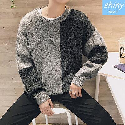 【Y167】shiny藍格子-個性潮流.秋冬撞色拼接圓領毛衣長袖上衣