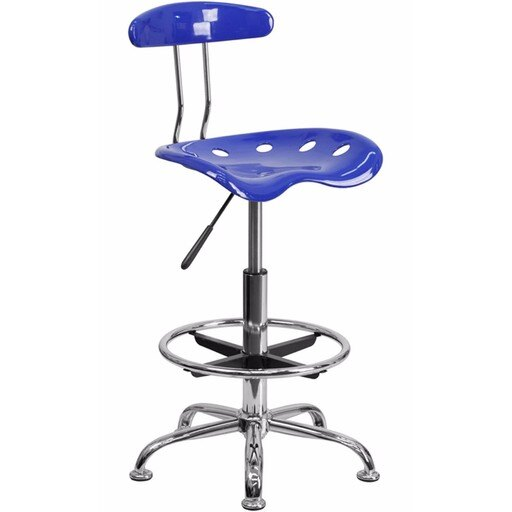 Offex Vibrant Nautical Blue and Chrome Drafting Stool with Tractor Seat [OF-LF-215-NAUTICALBLUE-GG] ff9165161a491c3027d342c5dc52c0ba