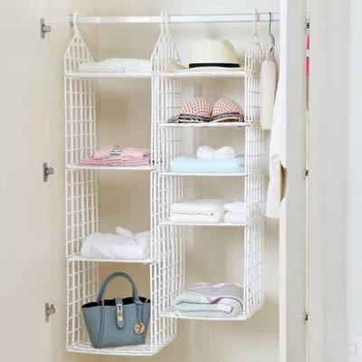 【塑膠收納掛袋-大一層小三層-29.5*29.5*98cm-1套/組】衣櫥懸掛式衣櫃收納袋(未安裝)-7201001