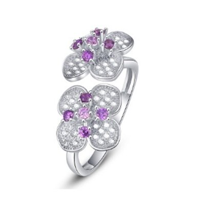 ~925純銀戒指鑲鑽銀飾~唯美氣質雙花 母親節生日情人節 女飾品73dx15~ ~~米蘭
