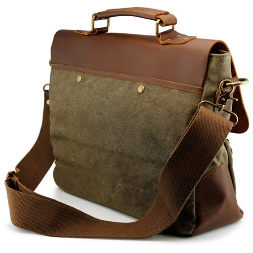 Men's Vintage Canvas Leather Satchel School Military Messenger Shoulder Bag Travel Bag - Army Green 2