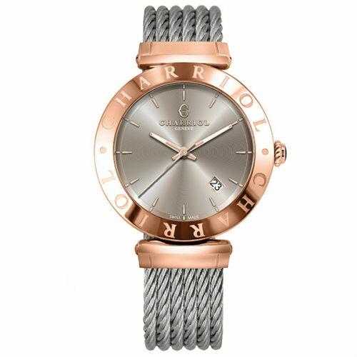 CHARRIOL夏利豪(ALBP51A115)AlexandreC玫瑰金經典鋼索腕錶40mm