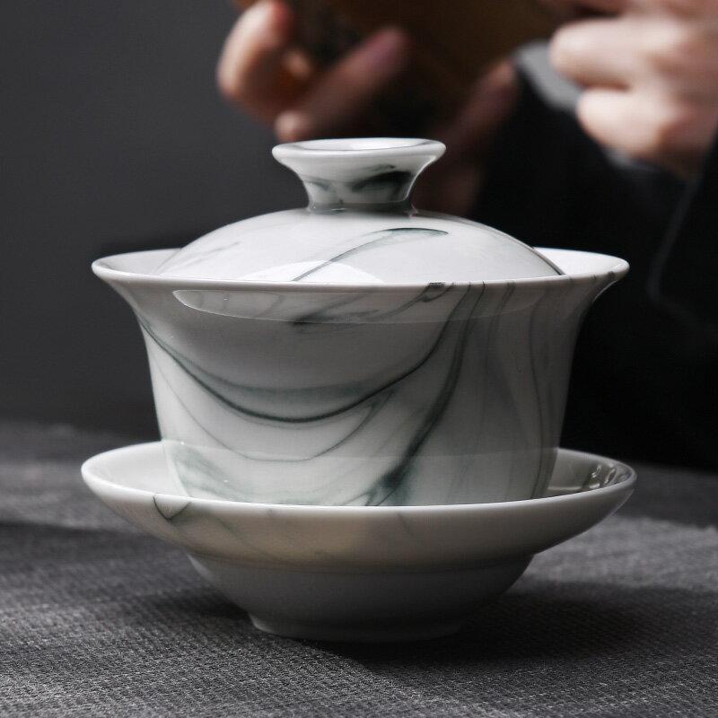 陶福氣 水墨禪意陶瓷茶具蓋碗 家用功夫茶泡茶碗沏茶碗三才蓋碗組