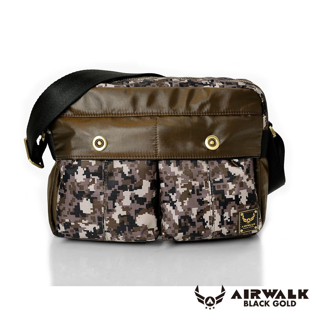 AIRWALK - 黑金系列 【禾雅】輕裝騎兵 - 經典雙前袋側肩包 - 大 - 迷彩咖
