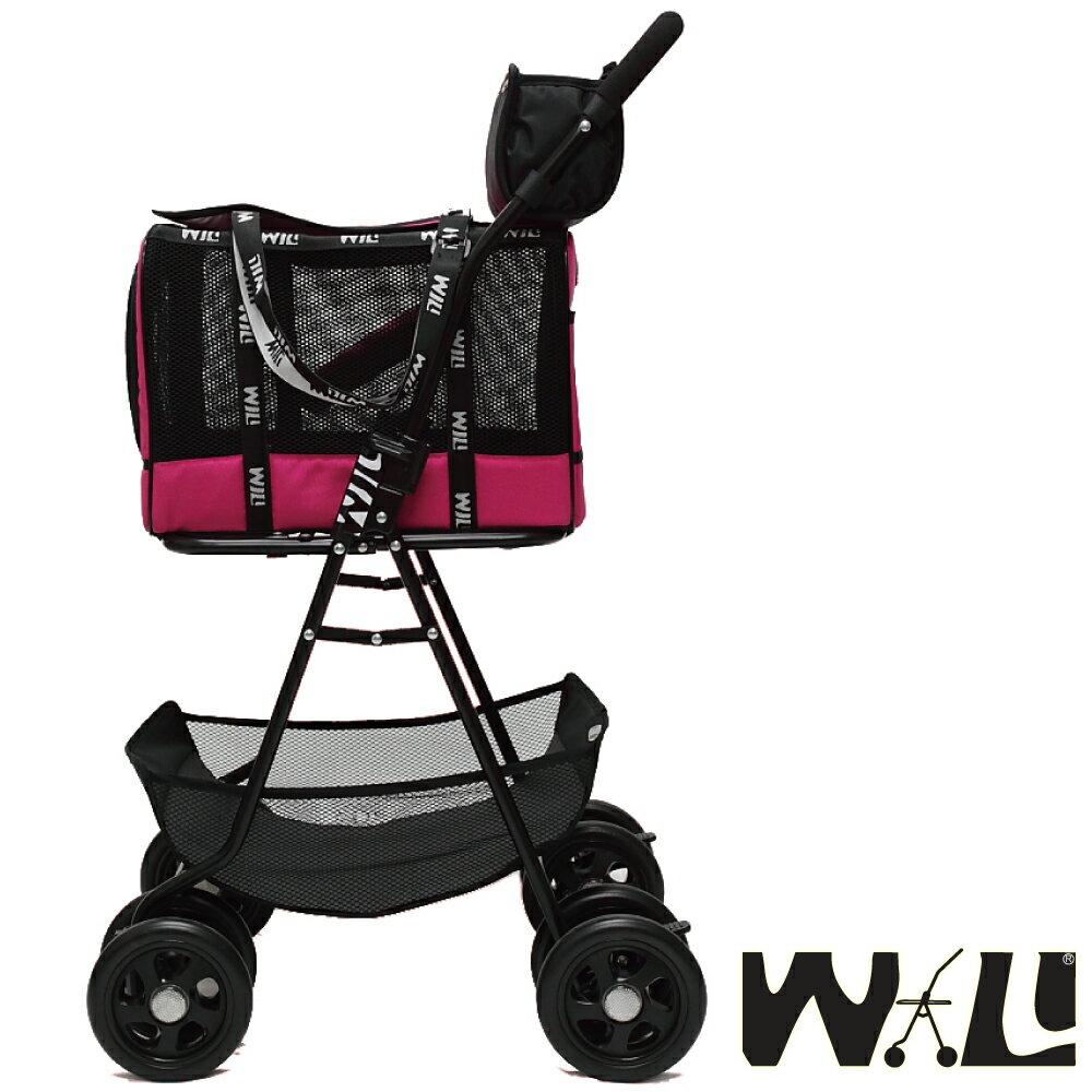 【WILL設計 + 寵物用品】雙層萬搭可拆式推車+WB02極透氣抗夏黑網#愛戀桃
