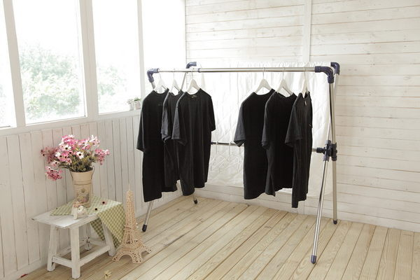 【獨賣款!免工具組合 】唯一㊣白鐵S304複合不鏽鋼材質-X型伸縮折疊曬衣架~輕薄好收納
