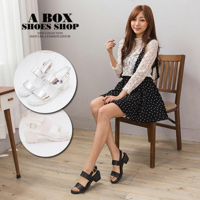 【KD1702】MIT台灣製 雜誌時尚款素面皮革金屬釦環 5CM中粗跟一字涼鞋 3色