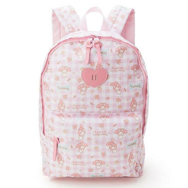 【真愛日本】16051800004後背包-MM小花粉格  三麗鷗家族 Melody 美樂蒂 後背包 背包 書包