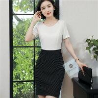 必勝顯瘦約會洋裝到色差拼接式顯瘦短袖時尚韓風洋裝白色就在WK FASHION推薦必勝顯瘦約會洋裝