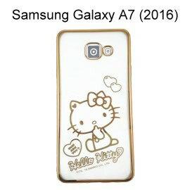 Hello Kitty 電鍍軟殼 [愛心] 金 Samsung A710Y Galaxy A7 (2016)【三麗鷗正版授權】