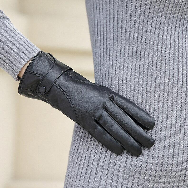 真皮手套保暖手套-羊皮加絨皮扣花邊女手套73wm71【獨家進口】【米蘭精品】 2