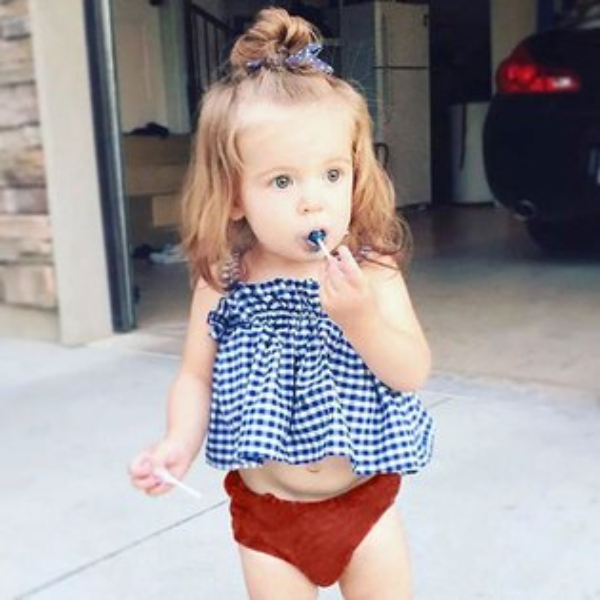 ins藍色格子吊帶平口上衣無袖背心格紋小洋裝T歐美童ANNAS.