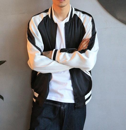 【JP.美日韓】韓國絲滑 高質感 棒球外套 做工 一流 品質保證 超級推薦 三色 黑白/墨綠/粉色