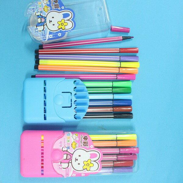 12色可水洗水彩筆 中彩987-12 筆型繪畫彩色筆/一盒入{促49}細桿 膠盒