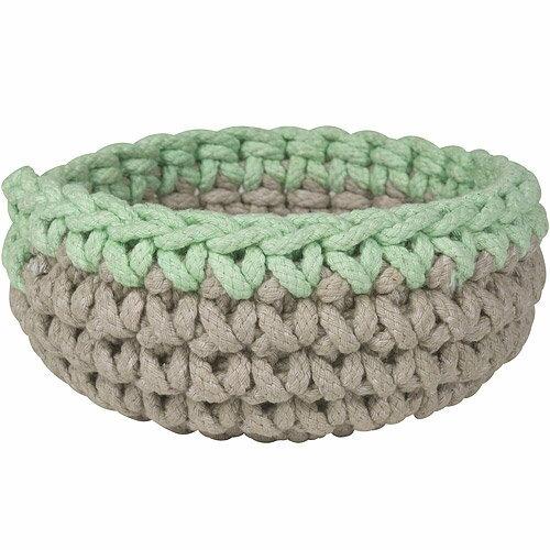 《DANICA》鉤針編織收納籃(灰綠)