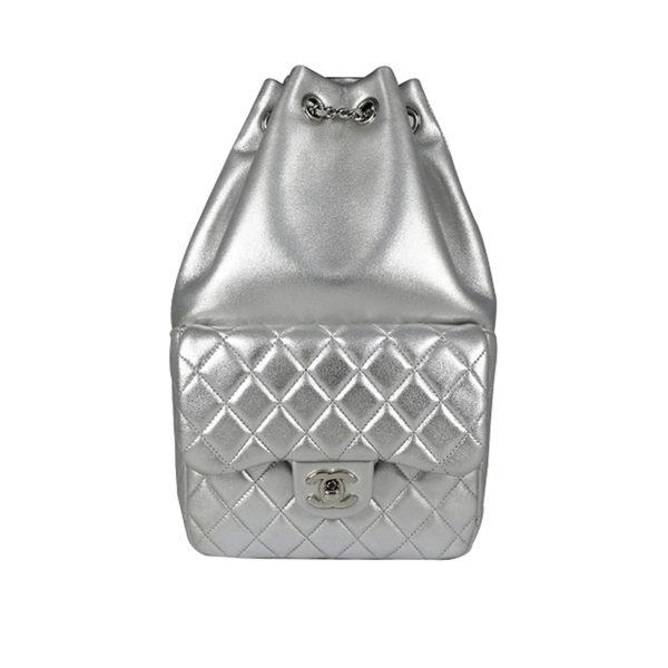 【CHANEL】羊皮 後背包(小)(時尚銀) CH15000010