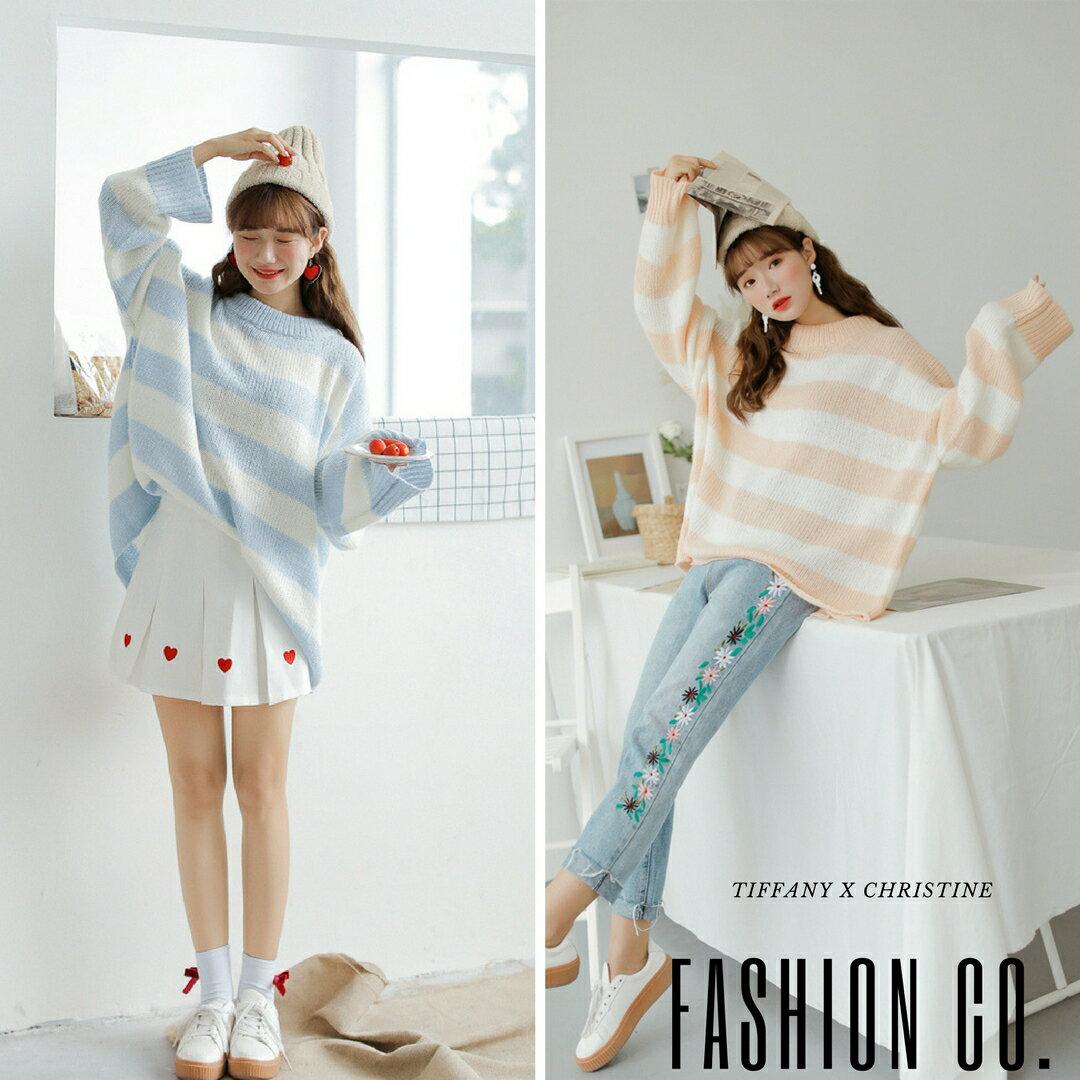 春款條紋薄針織衫(2色)