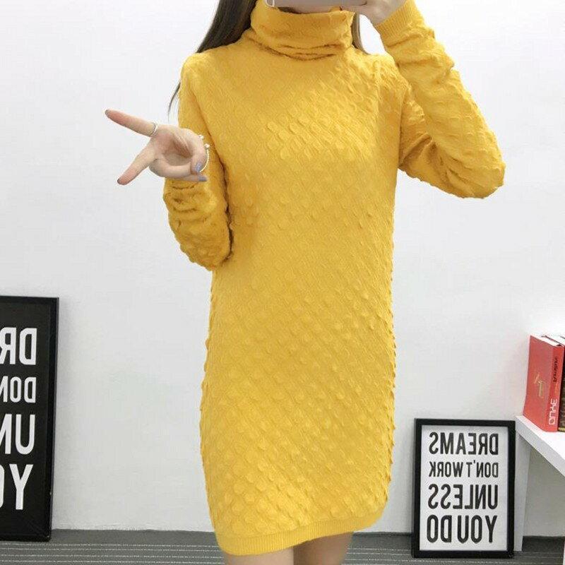 ◆ Y05659◆  時尚中長款高領針織上衣~連身裙 一款9色 【韓風衣舍】