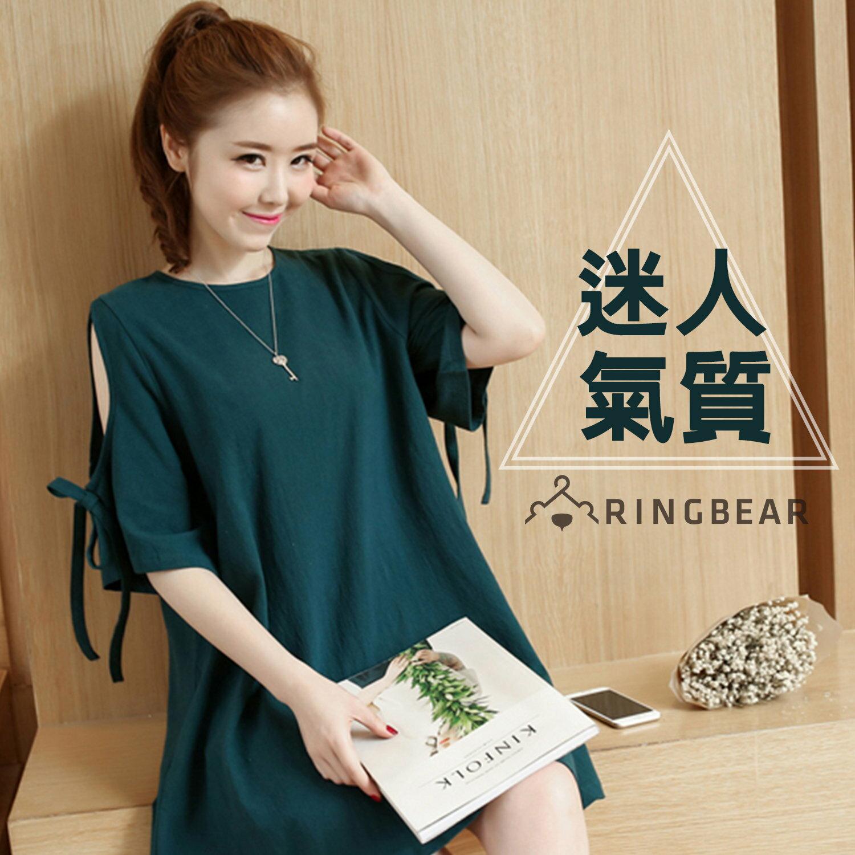 氣質洋裝--森林系精靈風挖肩蝴蝶結綁繩袖棉麻混紡連身裙(黑.綠XL-5L)-D450眼圈熊中大尺碼 0