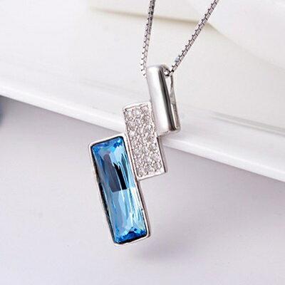 ~925純銀項鍊 水晶吊墜~ 精緻簡約長方形生日情人節 女飾品2色73fx50~ ~~米蘭