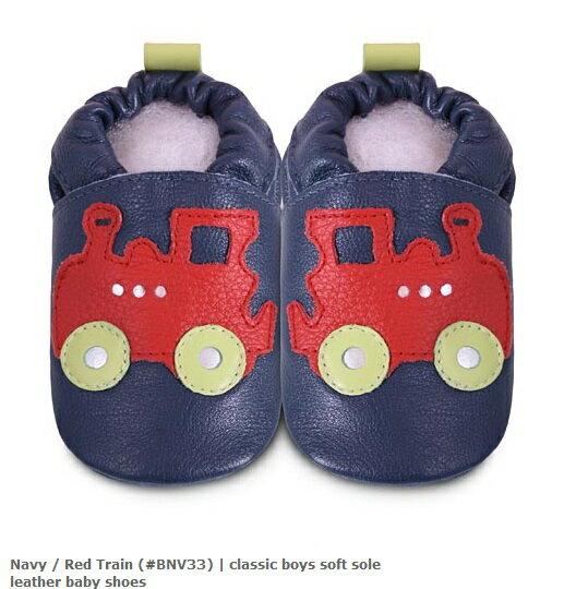 【HELLA 媽咪寶貝】英國 shooshoos 安全無毒真皮手工鞋/學步鞋/嬰兒鞋_海軍藍紅色火車(公司貨)