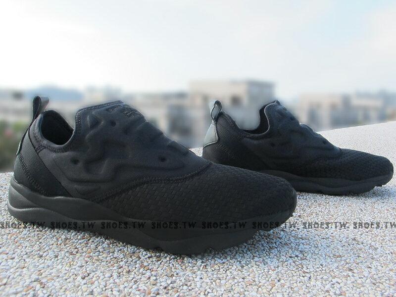 Shoestw【V70817】Reebok FuryLite SLIP-ON 編織 全黑 襪套 男生