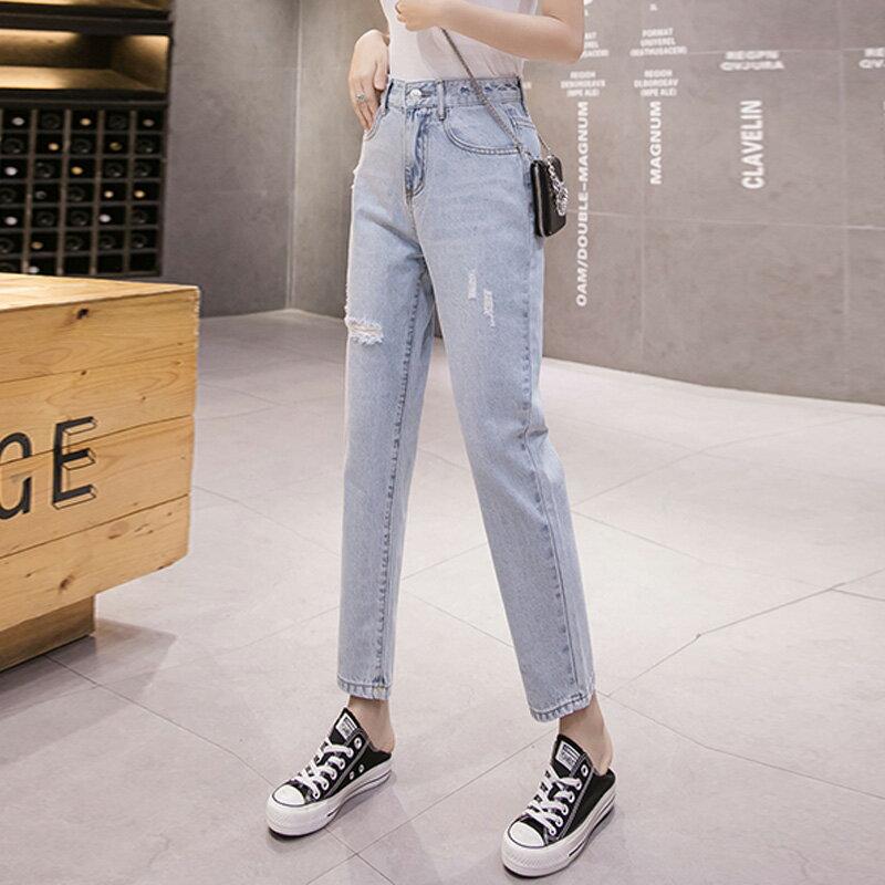 2020春裝新款韓版高腰破洞九分牛仔褲女寬松顯瘦直筒哈倫褲小腳褲1入