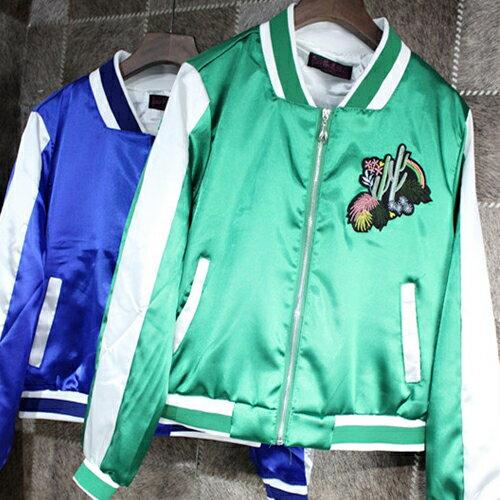 撞色滑面刺繡短版飛行外套 夾克外套 棒球外套 上衣【29182】藍色巴黎《2色》現貨 + 預購 2