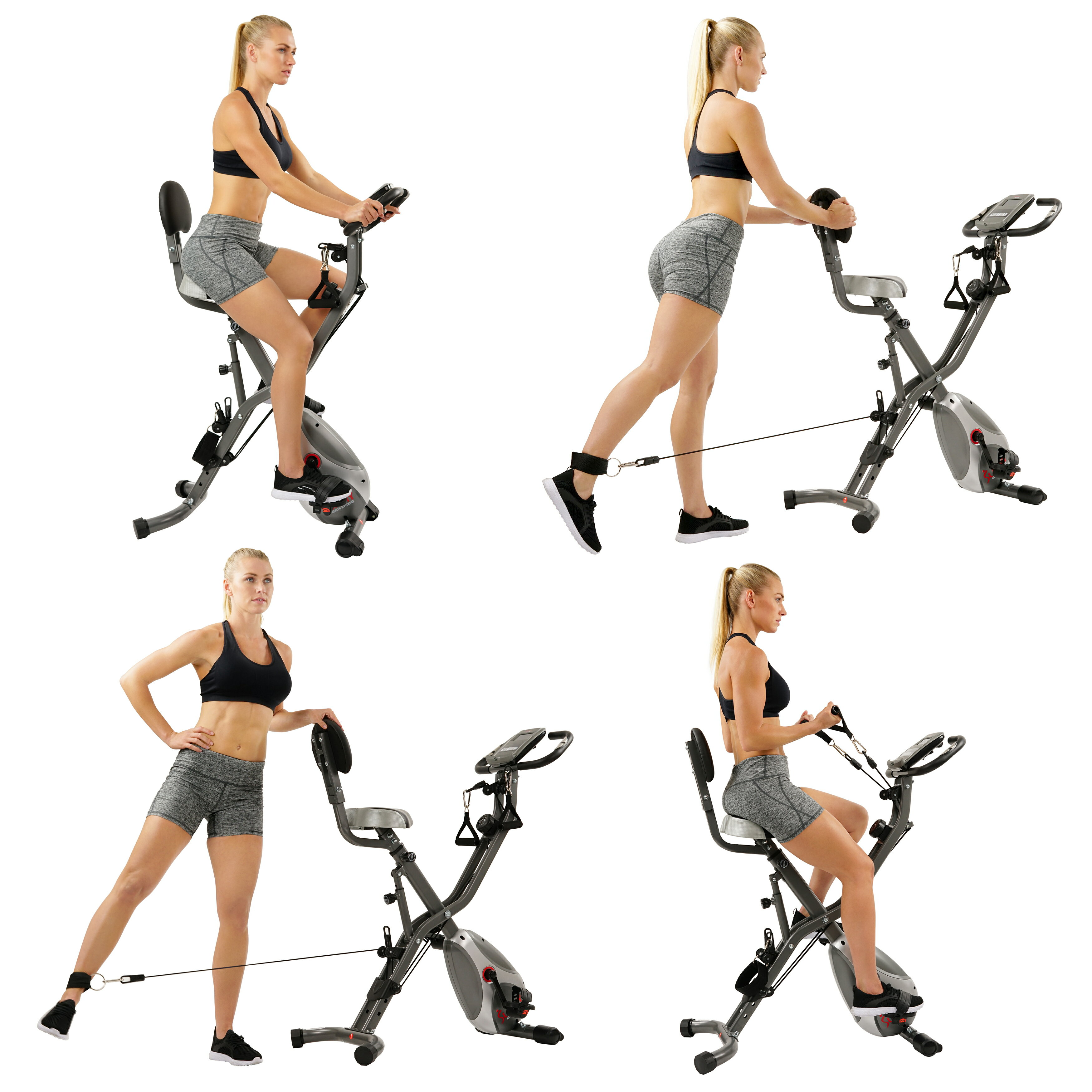 Sunny Health & Fitness Foldable Semi Recumbent Magnetic Upright Exercise Bike w/ Pulse Rate Monitoring, Adjustable Arm Resistance Bands and LCD Monitor - SF-B2710 5