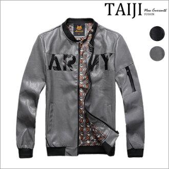 皮衣夾克‧大面積英字內裡印花MA-1飛行皮衣夾克‧二色【ND90023】-TAIJI