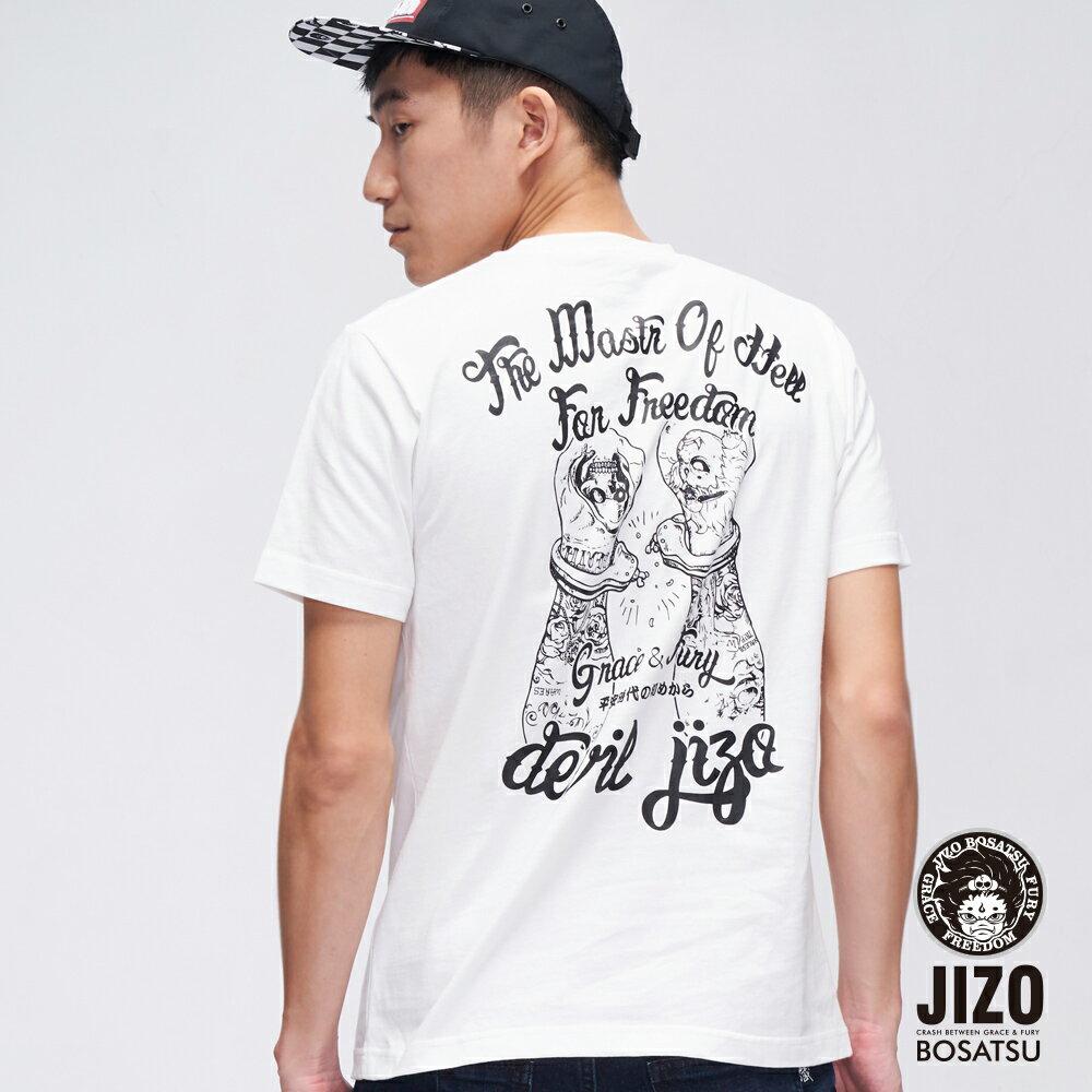 【OUTLET新品↘6折】街頭刺青風格短TEE(白)-  BLUE WAY  JIZO 地藏小王 0