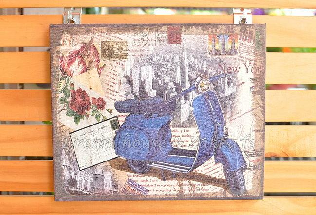 漂亮復古仿舊 木框 麻布畫《 藍色偉士牌 》★質感很棒★ 夢想家精品生活家飾
