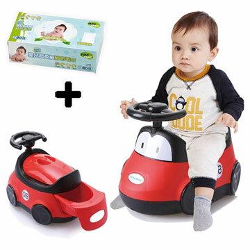 【奇買親子購物網】babyhood小汽車座便器+NacNac乾式嬰兒超柔細紗布毛巾80抽*1盒